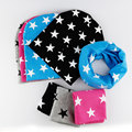 1 Set Children's Winter Autumn Cotton Hat Scarf Baby Girl Boy Stars Crochet Cap Beanies