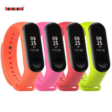 Honecumi For Mi Band 3 Strap Bracelet Soft Silicone Band Replacement Wrist Straps For Xiaomi Miband 3 Smart Watch with 4 Pack(China)