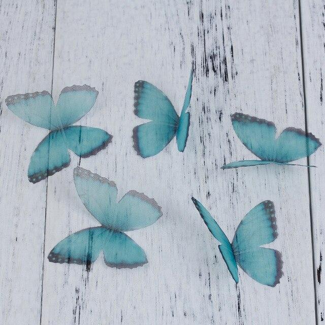 """ブルー&パープルオーガンジーethereal蝶用diy &クラフト50ミリメートル(2 """")長い、5ピース"""