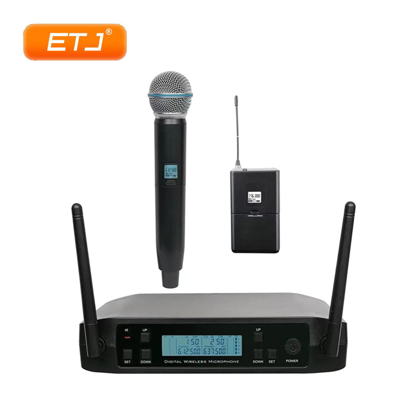 Portable UHF Wireless Microphone 2 Handheld Transmitter GLXD24 GLXD Karaoke Microphone Dynamic Microphone free shipping professional uhf px24 b 58 karaoke wireless microphone system with super cardioid handheld transmitter microfono