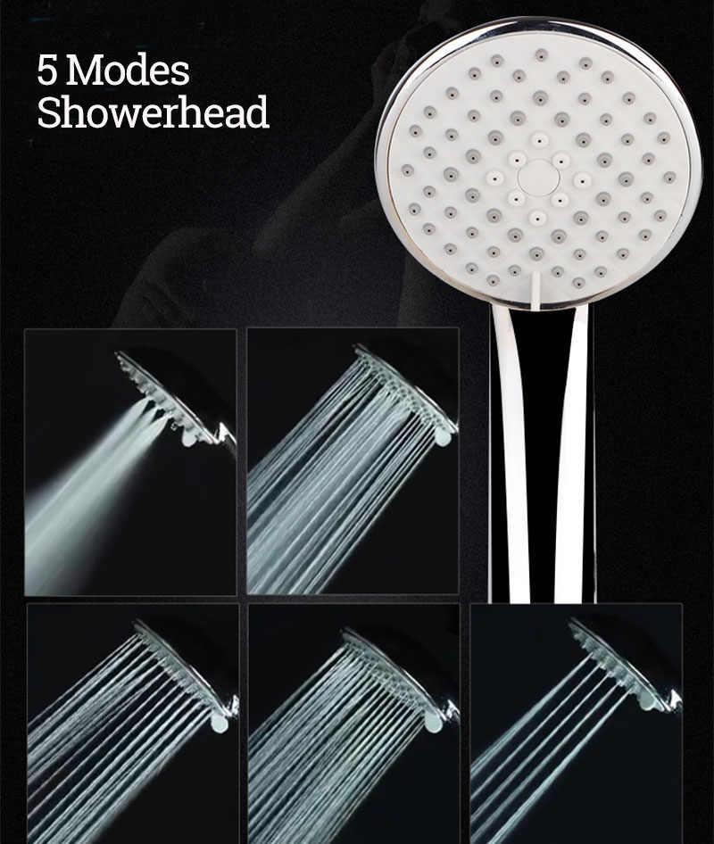 Zhangji lotus cabeça de chuveiro de alta pressão 5 modos multi-camada chapeado silicone furos spray bico 110cm grande painel cabeça de chuveiro