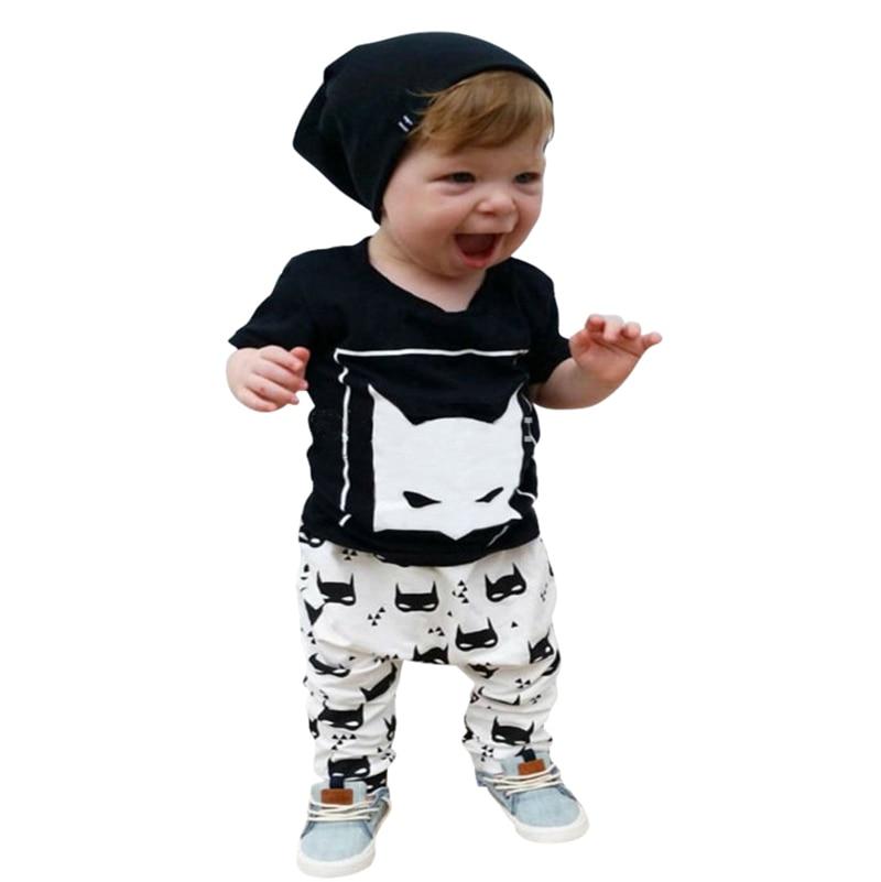 e05812e5b أزياء جميلة مجموعة الأحرف القطن طفل رضيع ملابس الاطفال ملابس الطفل مجموعة  (بنطلون + تي شيرت) الصبي الصيف الملابس مجموعات LH7s