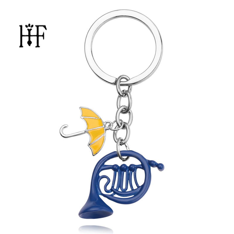 Freeshipping 1pc HIMYM How I Met Your Mother Yellow Umbrella Mother Blue French Horn Keychain Key Ring