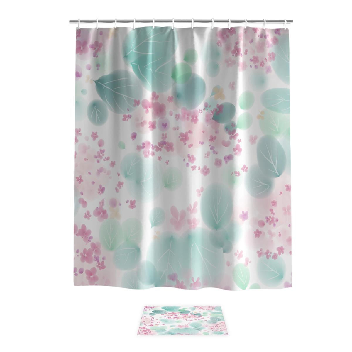 Watercolor Flowers Small Flowers Plant Cute Pink Bathroom Mat With