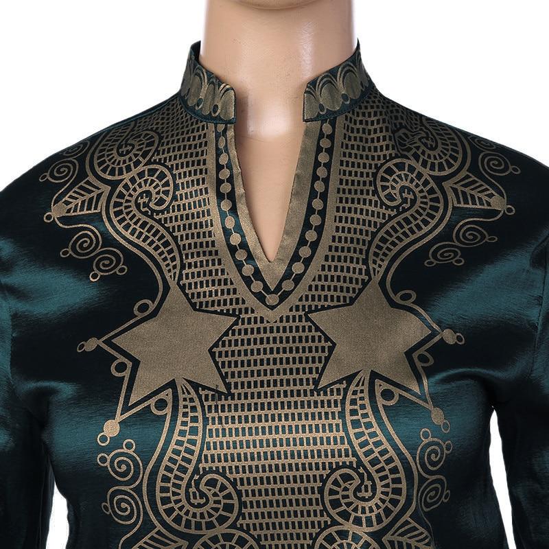 0200b3ea9 Moda estilo africano traje verde camisa hombres manga larga Stand cuello  Prom novio suéter Dashiki boda más el tamaño en Camisas casuales de La ropa  de los ...