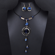 Fashion Acrylic Jewelry Sets For Women Ethnic Adjustable Round Crystal Statement Leather Necklace Earrings Wedding