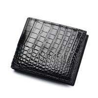Classical Designer Genuine Crocodile Skin Men's Black Coffee Bifold Short Card Holder Wallet Alligator Leather Male Thin Purse