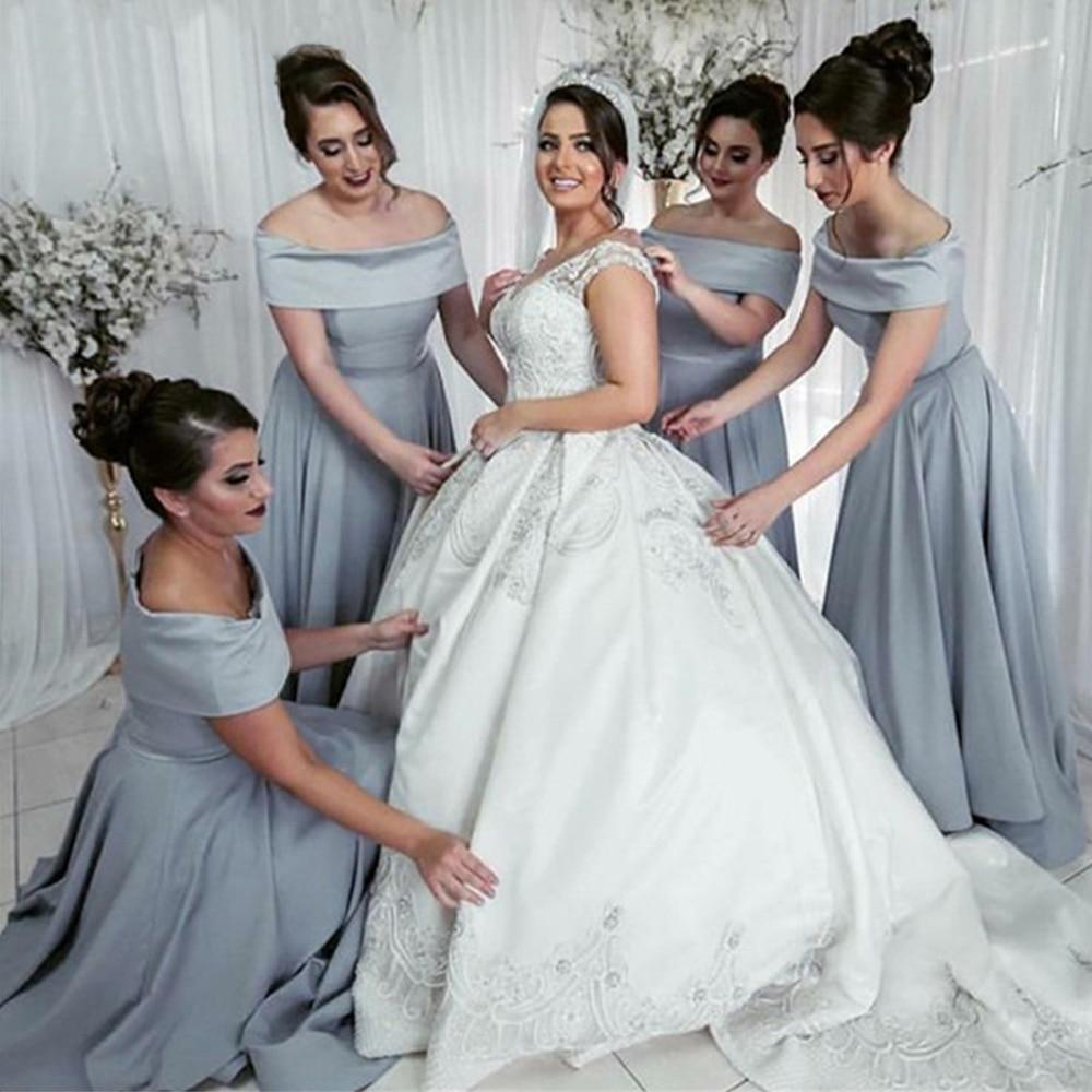 Bbonlinedress Grey A Line Boat Neck   Bridesmaid     Dresses   2019 Robes de demoiselle d'honneur Wedding Party   Dresses