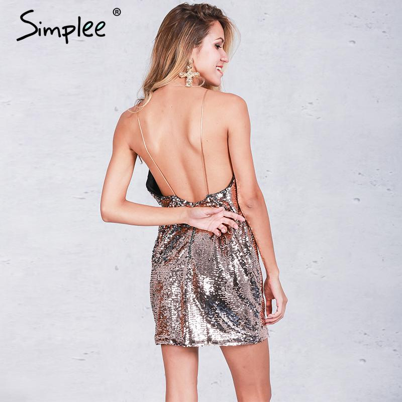 Simplee Backless deep v sequin sexy dress Women black party luxury sundress short dress Autumn strap mini dress vestidos camis 1