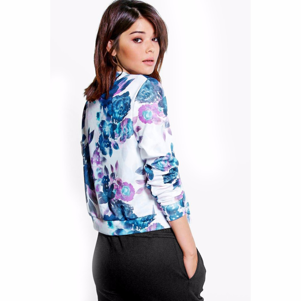 Fashion Floral Print Women Basic Coats Autumn Winter Bomber Jacket Long Sleeve Casual Basic Jackets Jaqueta Feminina (Us 10-18W)