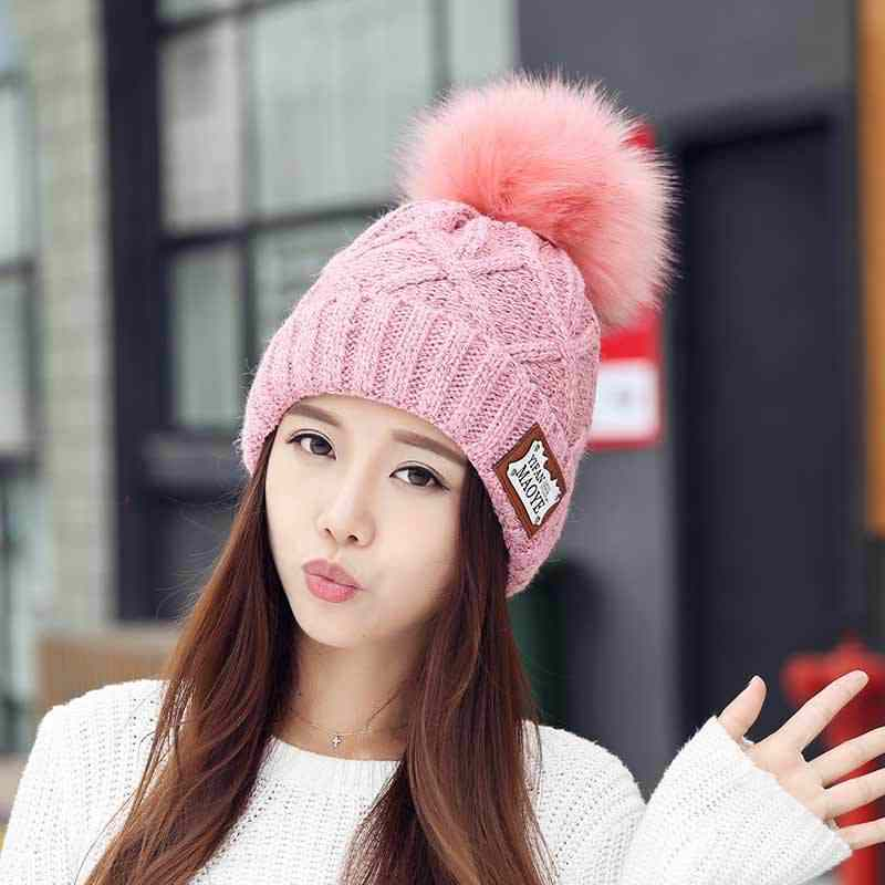 688860a5f Fashion Pompoms Winter Hats For Women Solid Pink Knitted Hats For Girls  Rabbit Ball Caps Casual