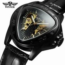 d7068136a الفائز الرياضة سباق تصميم هندسية مثلث تصميم جلد طبيعي حزام رجالي ساعات أعلى العلامة  التجارية الفاخرة