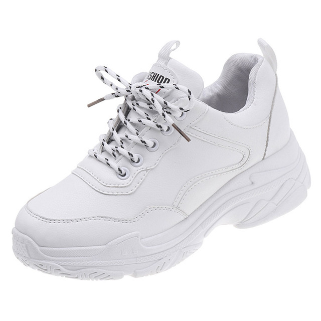 CHAMSGEND 2019 Hot Women's shoes small white shoes solid color lace-up sneakers old shoes versatile comfortable casual shoes