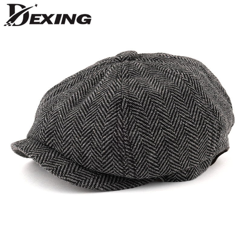 06f0b632f Men Octagonal Big size Berets Herringbone Gatsby Tweed Cap Newsboy Male  Beret peaky blinders hat spring