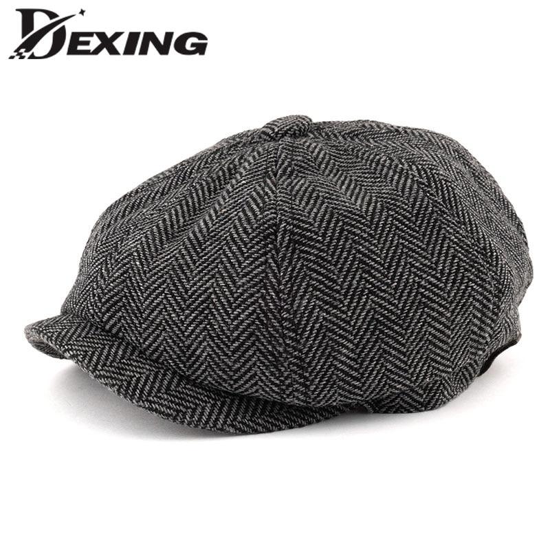 Men Octagonal Big Size Berets Herringbone Gatsby Tweed Cap Newsboy Male Beret Peaky Blinders Hat Spring Women Flat Beret Hats