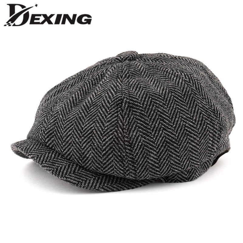 d53123e4d Men Octagonal Big size Berets Herringbone Gatsby Tweed Cap Newsboy Male  Beret peaky blinders hat spring Women Flat Beret Hats