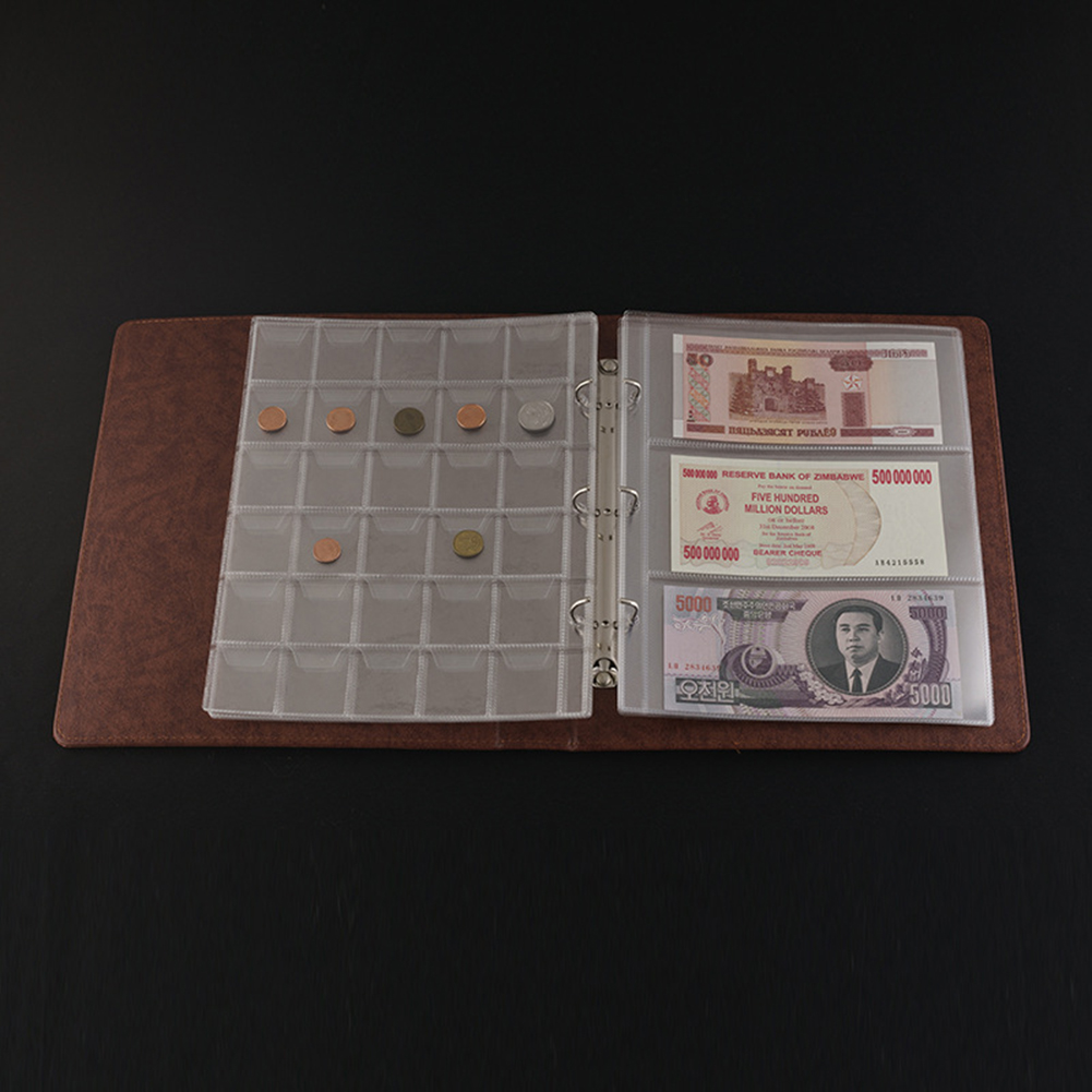 5Pcs 3 Pockets Pages Paper Money Album Currency Banknote Stamps Storage Holder Set in Photo Albums from Home Garden