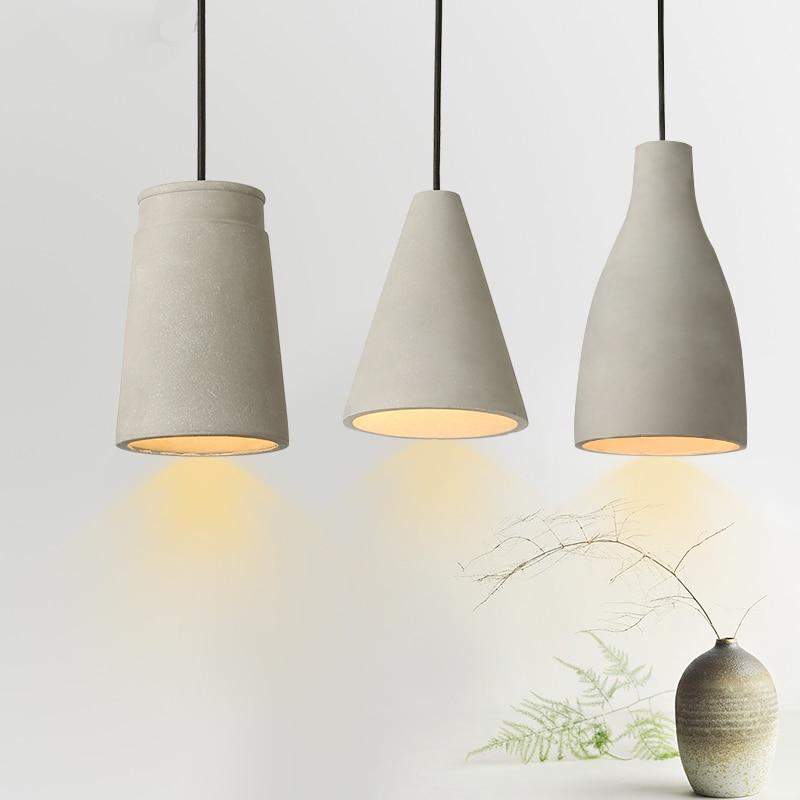 Industrial Retro Indoor Cement Pendant Light Antiqued Concrete Black Cord Pendant Lamp Hanging Lighting For Dinning Room PL449