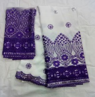 Blesing White And Purple George Fabric Raw Silk Fabric With Sequins African George Fabric In Lace