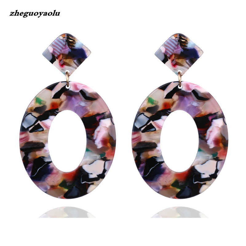 2019 Fashion Jewelry Acrylic Resin Oval Pendant Earrings Ladies Geometry Big Circle Tortoise Earrings Acetate Brincos Oorbellen