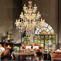 24/30/40 heads Big long Candle Crystal Chandelier for Hotel Villa Hall Fashionable Golden Glass Chandeliers suspension luminaire