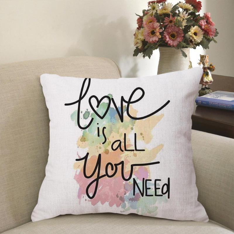 Cotton Linen Geometric Cushion Throw Cover Waist Pillow Case Sofa Car Home Decorative Valentine Pillowcase 45*45cm