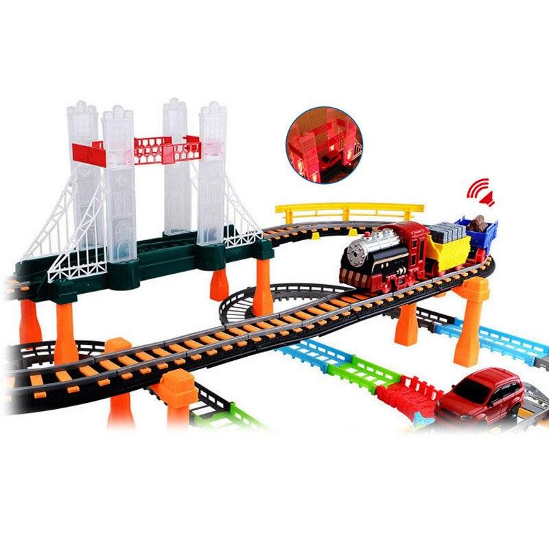 Voiture de course magique piste ville haute vitesse Rail électrique autoroute vitesse Double couche véhicule piste course conduite jouets pour enfants