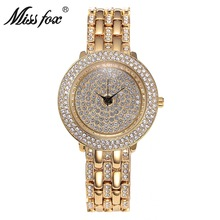 Miss Fox New Product Free Shipping High-end Quartz Crystal Diamond Ladies Round Alloy Mechanical Watch
