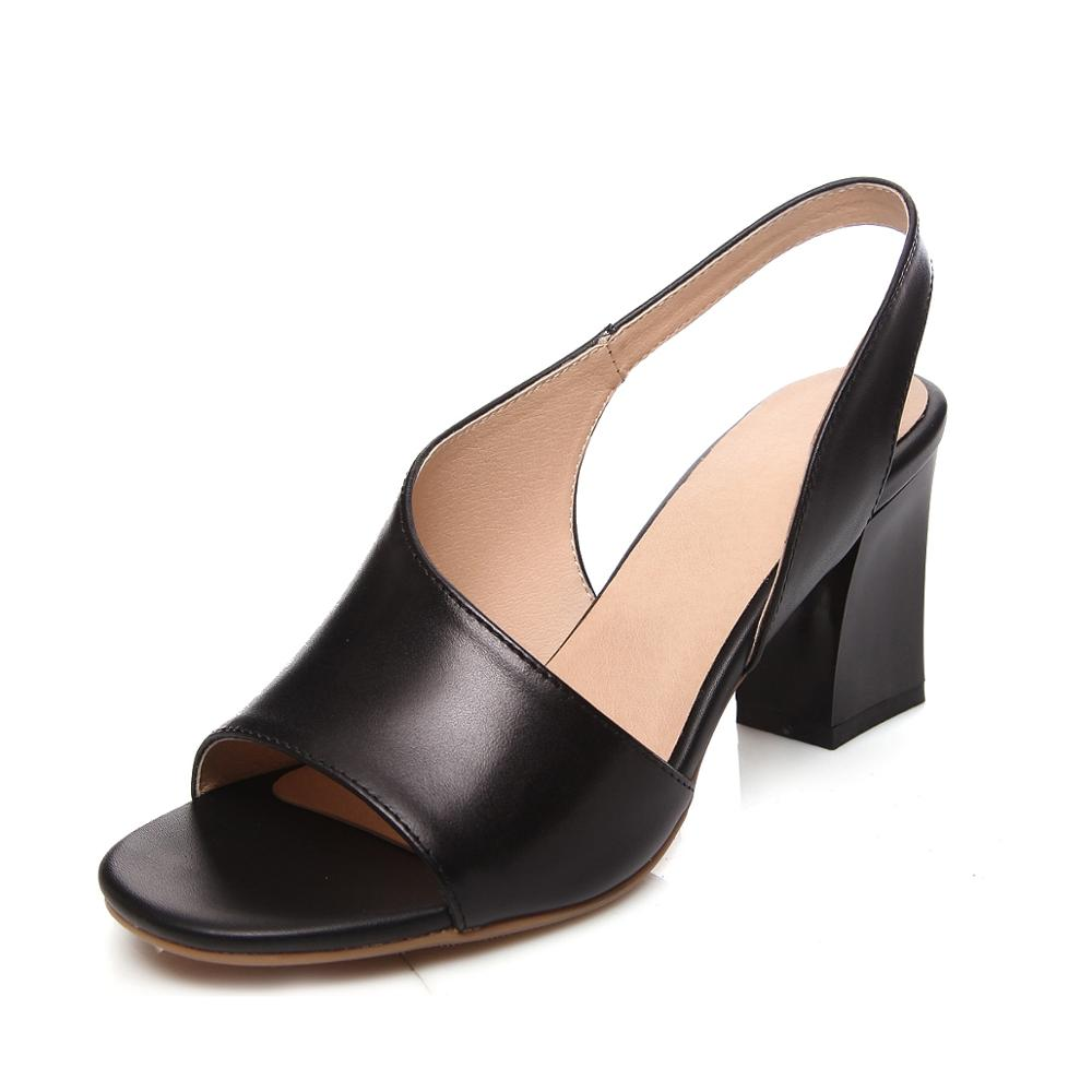 ФОТО High thick heel sandals female genuine leather small 31 32 33 plus size 40 41 42 43 fashion free shipping