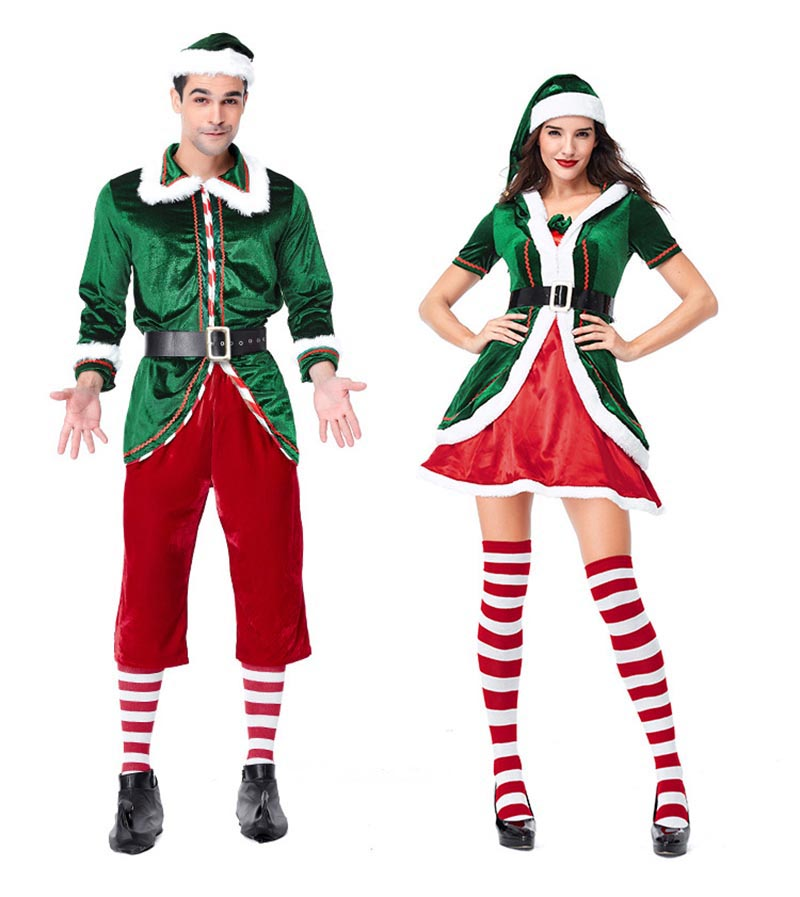 Adults Christmas Fancy Dress Elf Costume Xmas Party Santas Helper Party Outfit