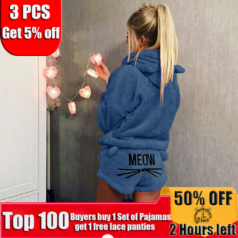 2019 Newest Women Hooded Pajamas Sets Winter Flannel Cartoon Warm Pyjamas Women Cute Sleepwear Homewear Cute Cat Female Pajama