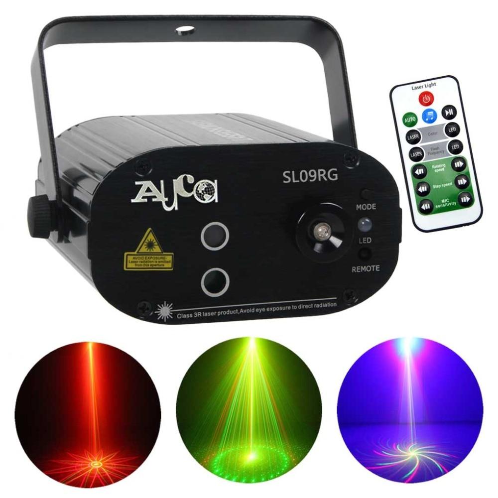 Mini 9 Grand Rouge Vert Laser Gobos Projecteur Lumières 3 W Bleu LED Effet de Mélange Accueil Parti Afficher Éclairage de Scène à distance Musique SL09RG