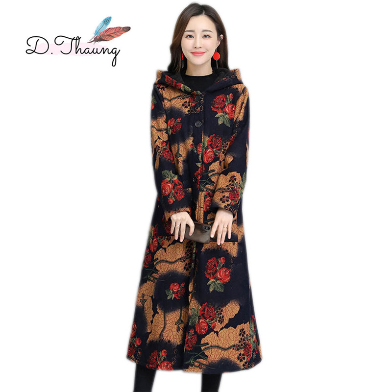 Autumn Winter Women Outerwear 2019 New Retro Printing Large Size Female   Trench   Thick Hooded Single-Breasted Ladies   Trench   Cw613
