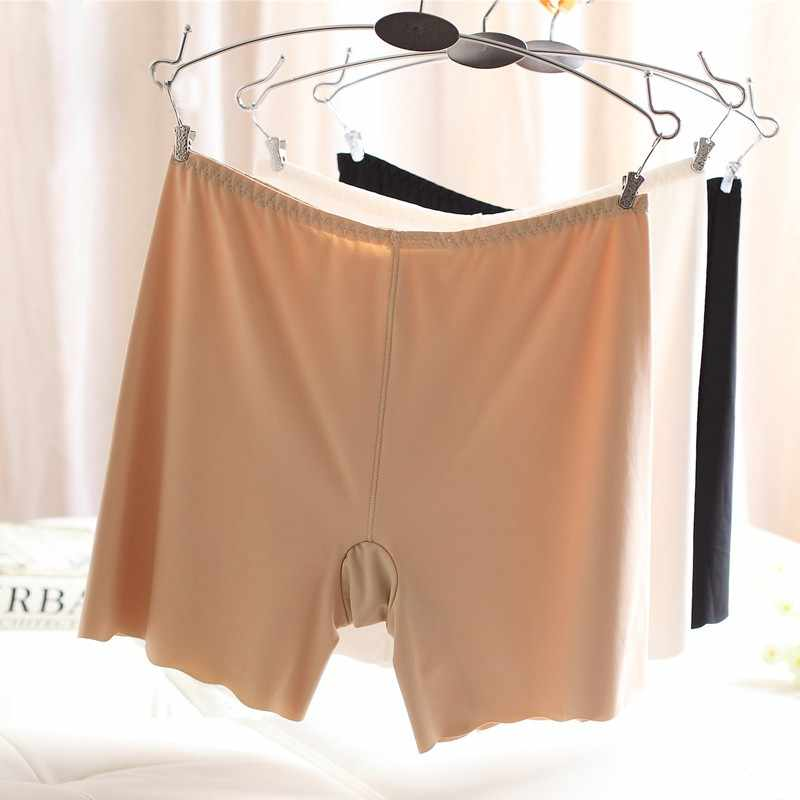 WJ Wanita Mulus Es Sutra Celana Pinggang Tinggi Stretch Solid Safety Celana Pendek