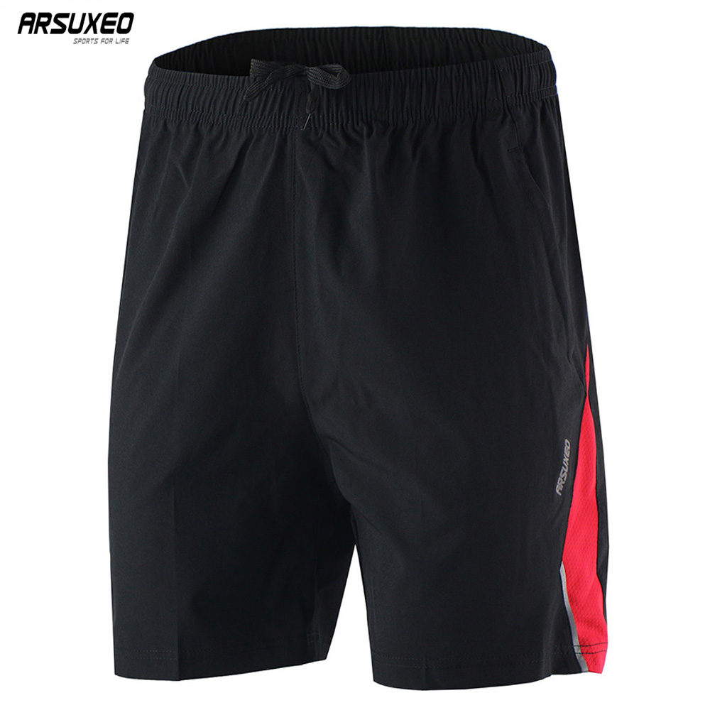ARSUXEO Men's Sports Running Shorts Training Soccer Tennis Workout GYM Athletic Shorts Quick Dry Breathable Pockets B162 цена