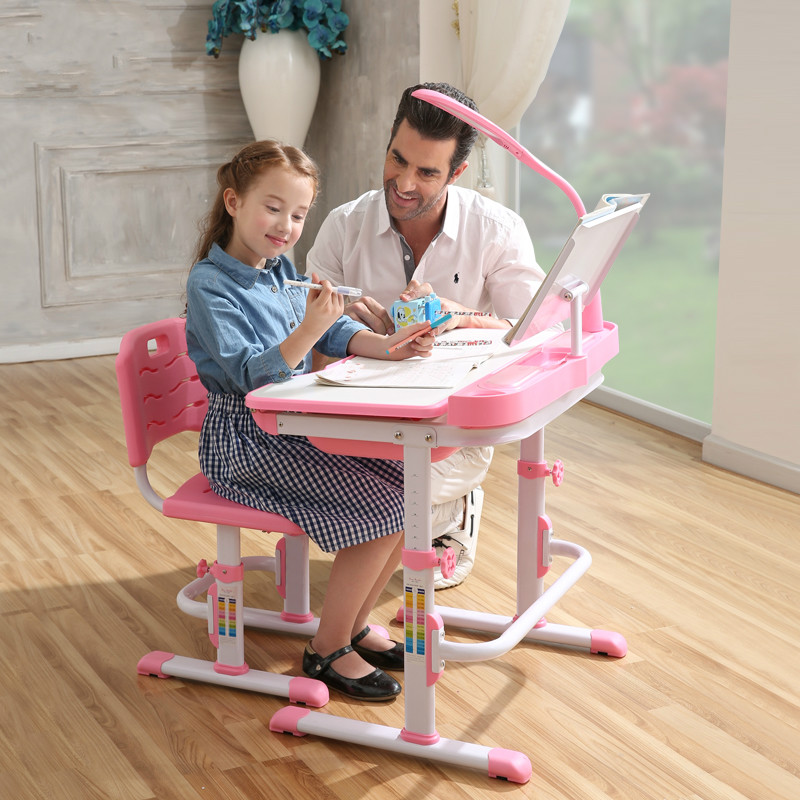 High quality adjustable height children learning desk and chair set for children against myopia writing desk and chair купить