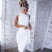 bd5e943684 Nowy Kobiety Sexy Koronki Bowknot Ruffles Party Dress Eleganckie Letnie  Panie Krótki Kolano Długość Biały Ukraina Sukienka vesti.
