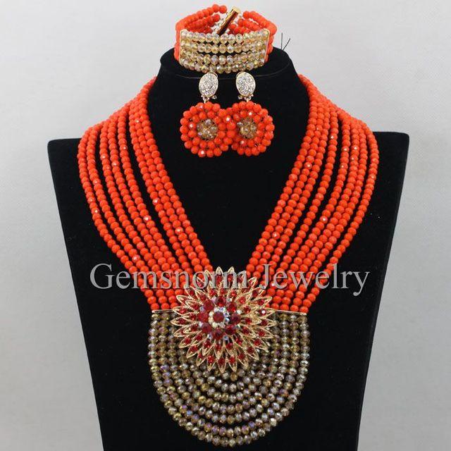 Últimas Oro de Coral Africana Conjunto Perlas de Boda Joyería Africana de Nigeria Coral Perlas de La Joyería de Oro Dubai Joyería Nupcial Conjunto WA035