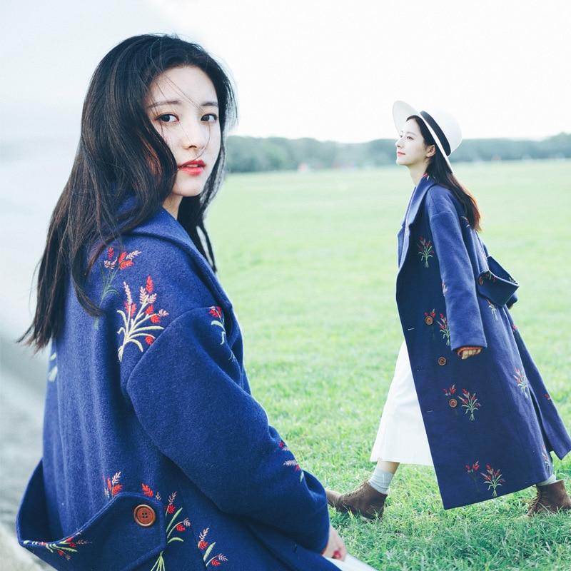 Vêtements Laine Lâche De Mode Broderie Blue Pour Chaud Femmes Kulazopper Nouveau Qw577 Épais 2017 Longue Hiver Manteau xSzFvqX