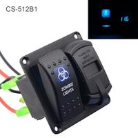 4.2A Dual USB 5 PIN Zombie Lamp Car Switch Combination Panel Mobile Phone Tablet Power Charger Voltmeter for Auto RV Truck Boat