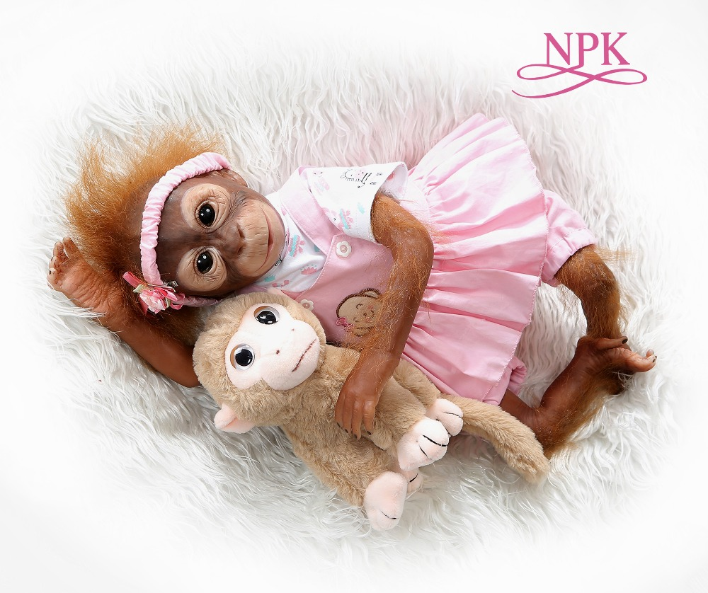 NPK New 52CM  Handmade Detailed Paint  Reborn Baby Monkey  Newborn Baby Collectible Art High Quality