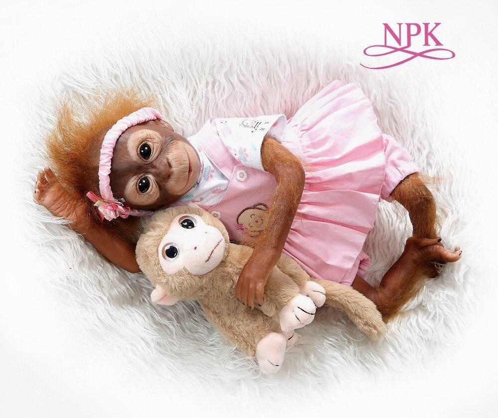 Npk nova pintura detalhada artesanal 52cm, bebê macaco recém-nascido, arte colecionável, alta qualidade