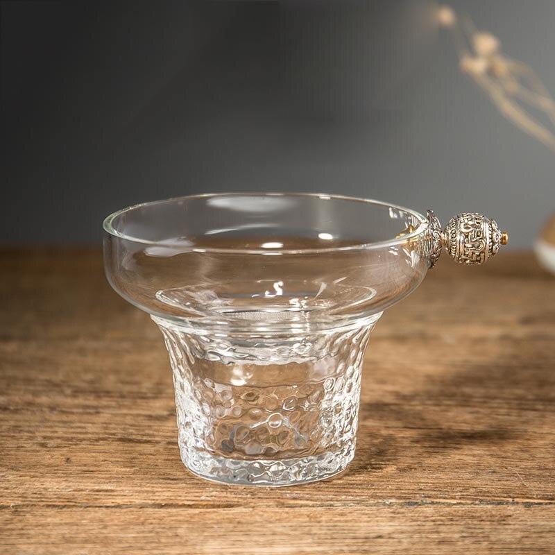 Filtre à thé en verre Transparent résistant à la chaleur créatif cérémonie du thé domestique accessoires exquis Tieguanyin filtres à thé vert