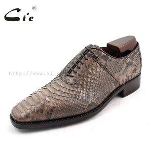 Image 2 - Cie Chân Vuông Bespoke Tuỳ Handmade Da Trăn Bê Đế Ngoài Bằng Da Người Đàn Ông Thở của giày NoSN1 Goodyear welted Màu Nâu