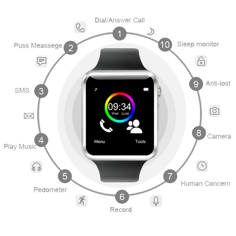 Image 5 - GT08 Bluetooth Smart Watch Phone Men Women Support 2G SIM TF Card Camera for Android Iphone Huawei Xiaomi Smartwatch PK Z60 X6-in Smart Watches from Consumer Electronics