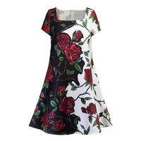 Sisjuly Vintage Dress 1950s Women Solid Dress Floral Knee Length Summer Dress Black Lady Short Sleeve