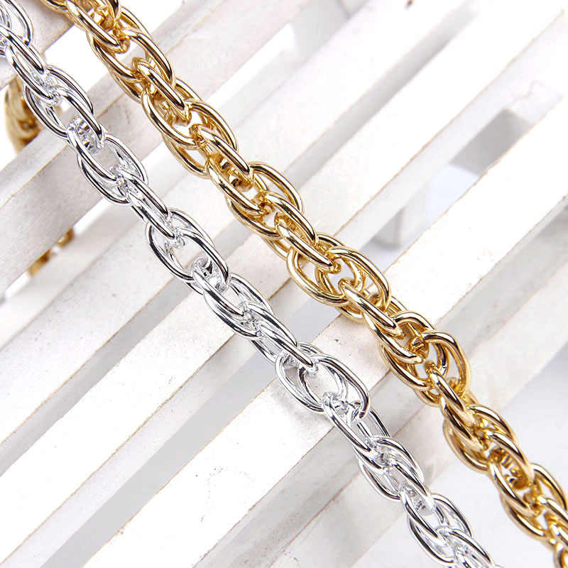 1Meter Aluminum  Necklace Chain For DIY Jewelry Making Double Curb Bulk Chain Rustless Gold/Silver Plated Metal Bracelet Finding