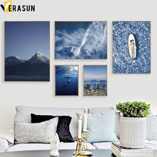 Mountain Fish Sea Beach Surfing Girl Wall Art Canvas Painting Nordic Posters And Prints Pictures For Living Room Home Decor