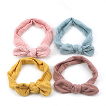 Sunlikeyou Newborn Turban Stripe Nylon Elastic Bows Hairband Toddler Girls Kids Hair Accessories Baby Girl Headbands