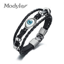 Modyle punk style Men Eyes Cuff Bracelets High Quality Alloy Material Leather Bracelet(China)